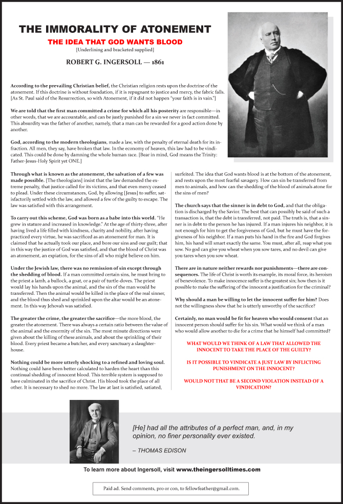 South Bend Tribune ad - The Immorality of Atonement