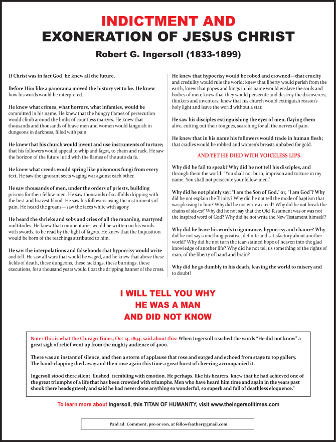 South Bend Tribune ad - Indictment and Exoneration of Jesus Christ