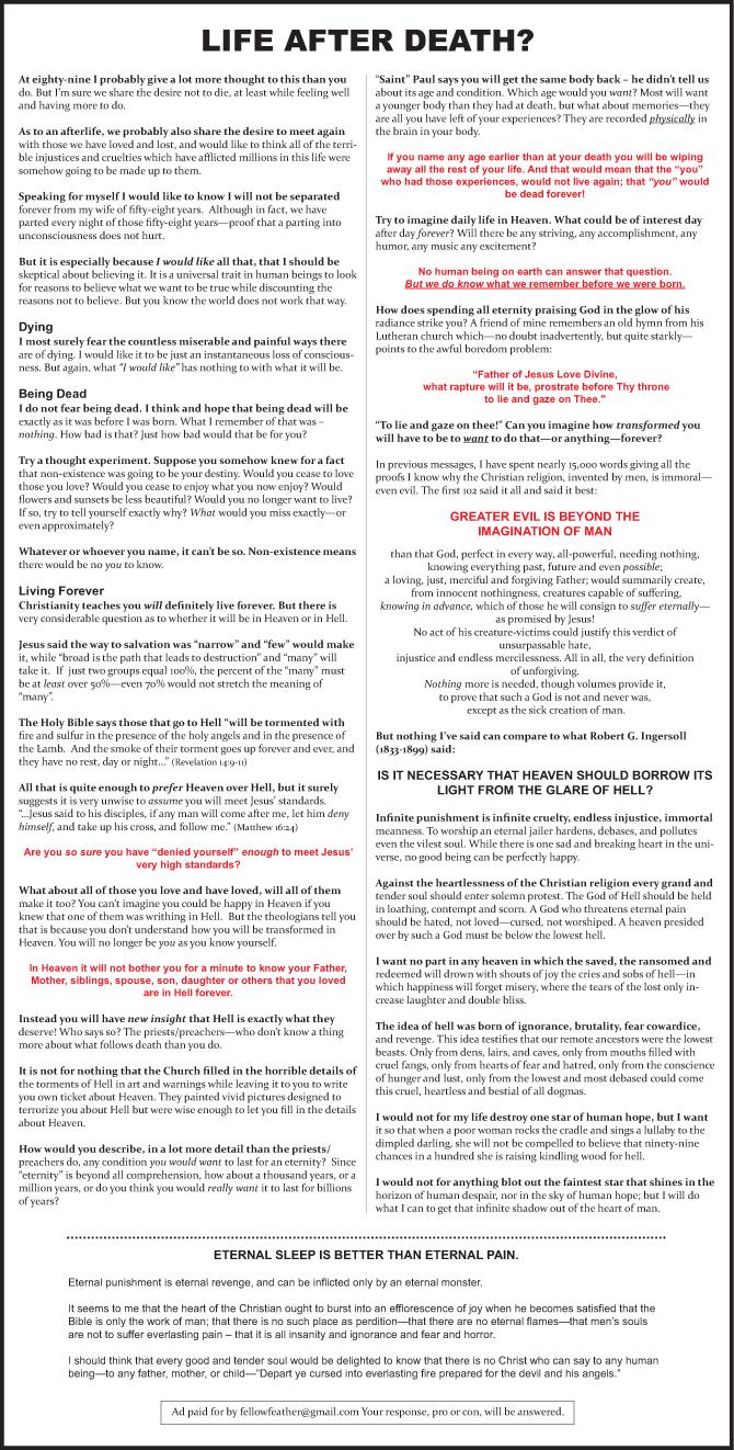 South Bend Tribune ad - Life After Death?