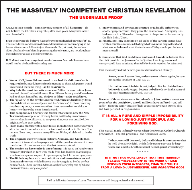 South Bend Tribune ad - The massively Incompetent Christian Revelation
