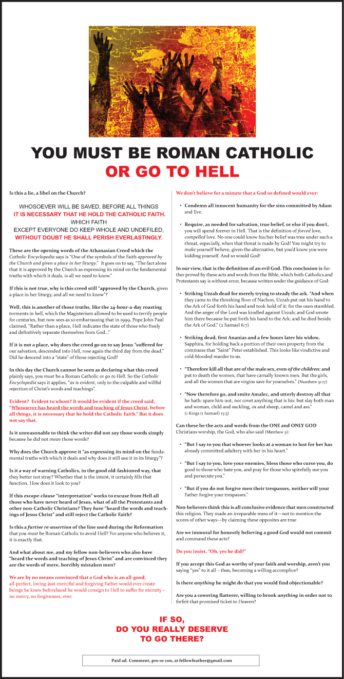 Ad - You Must Be a Roman Catholic or Go to Hell | The Ingersoll Times